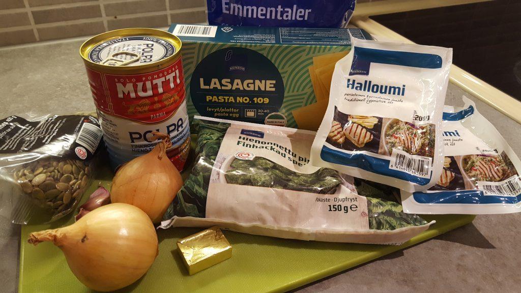 lasagne med halloumi och spenat