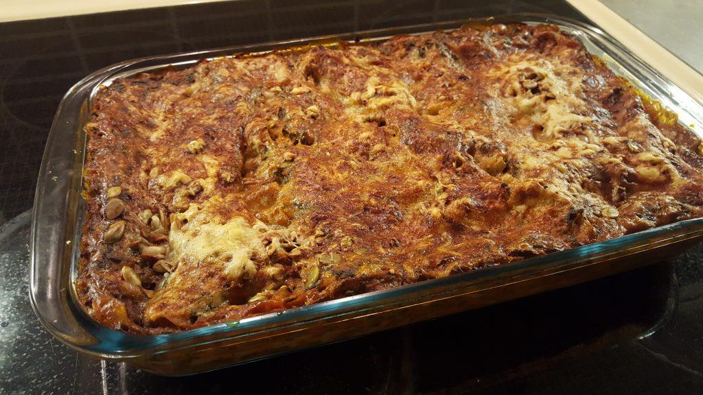 lasagne med halloumi